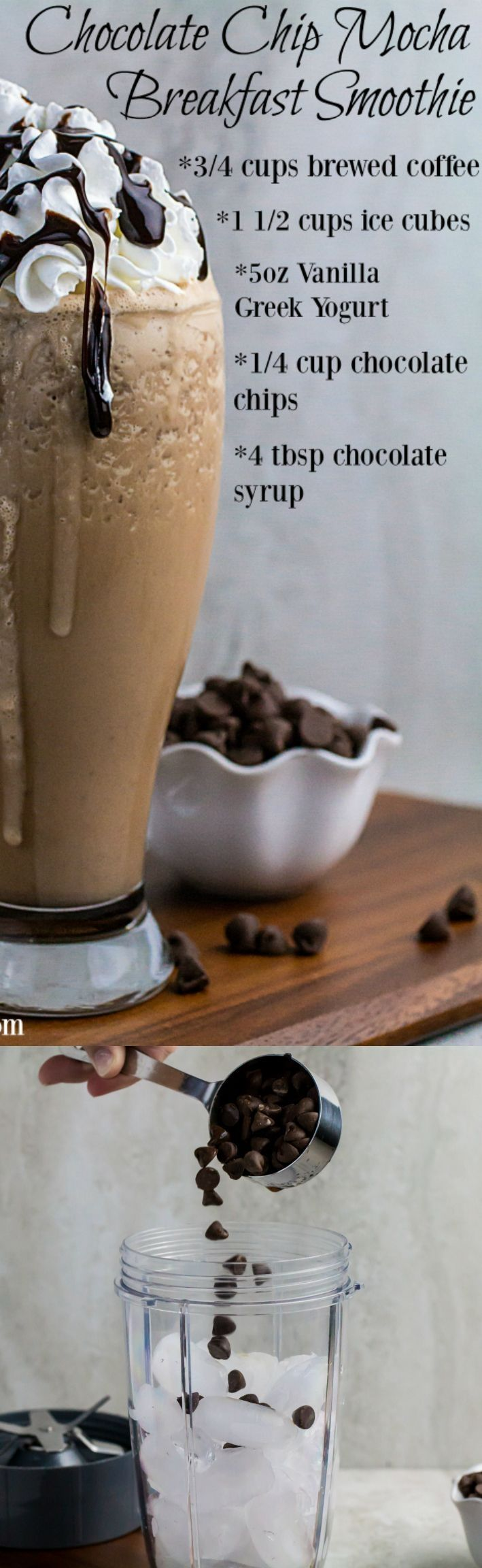 Click pin to get the recipe! Repin to save for later! Creamy vanilla greek yogurt, sweet chocolate chips, and ice combined with bold coffee to create the perfect Chocolate Chip Mocha Breakfast Smoothie. It's healthy protein and sweet, sweet caffeine rolled all into one tasty morning treat. This is seriously the easiest breakfast you'll make all week! Gluten free! #weightloss