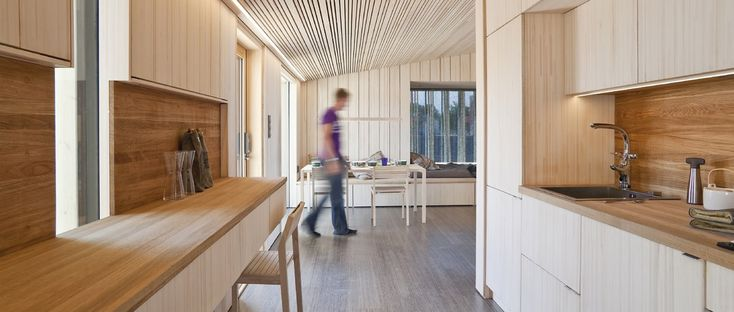 A 100% solar powered prefabricated timber house - 'Luukku House' winner in the field of architecture at the Solar Decathlon Madrid 2010.  Luukku is a 42 m² house with an airtight laminated veneer lumber panel frame and an envelope made of trusses w...