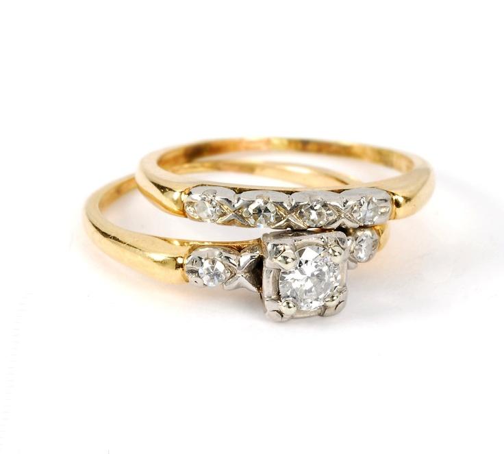 Vintage Art Deco Round Brilliant Diamond Ring 14kt Yellow Gold Wedding Set. $525.00, via Etsy.