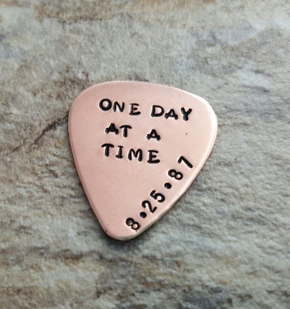 one day at a time sobriety gift guitar pick by TiffysLove on Etsy                                                                                                                                                                                 More