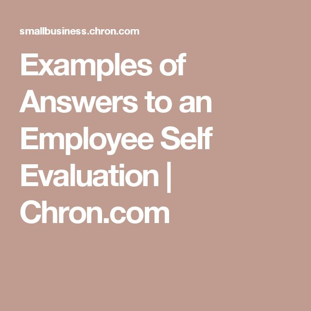 Examples of Answers to an Employee Self Evaluation | Self ...