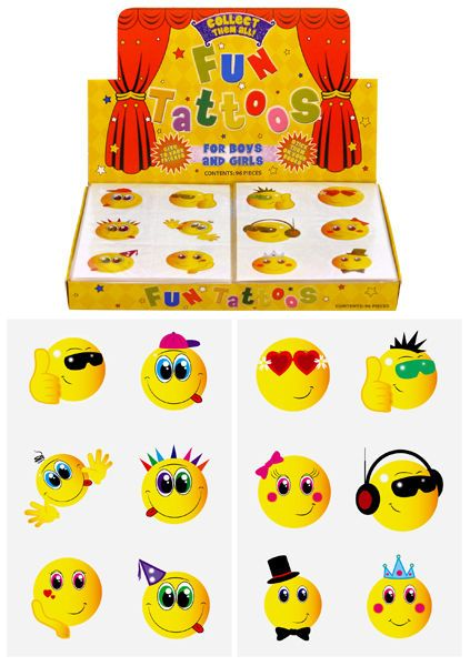 72 X CHILDRENS SMILEY FACE TEMPORARY TATTOOS, KIDS PARTY BAG FILLERS/TOY/PINATA