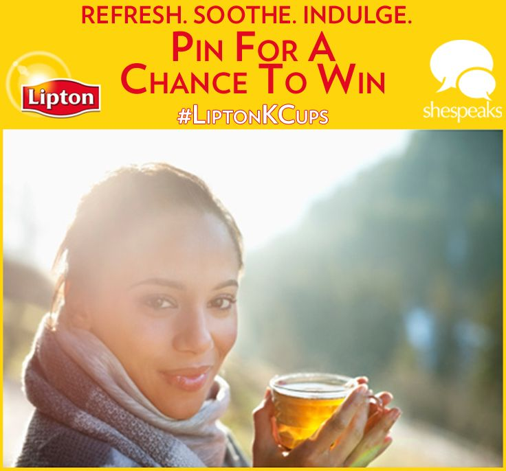 "Refresh, Soothe, and Indulge with #LiptonKCups!  Click through to enter to win one of five Lipton K-Cup ""Fresh Spin"" Prize Packs, including a Keurig brewing machine and new Lipton K-Cups!"