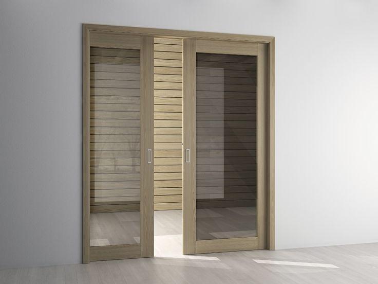 interierove dvere HANAK na mieru, posuvne dvojkridlove dvere v svetlom dreve s dymovym sklom