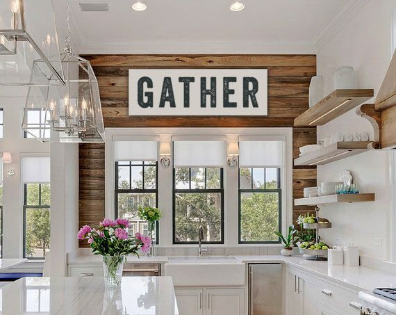 Gather Sign, Large Canvas Art, Kitchen Decor, Fixer Upper Sign Joanna Gaines Inspired, Vintage-look, Custom Color, Subway Art, Kitchen Art by laurenmaryHOME on Etsy https://www.etsy.com/listing/271246201/gather-sign-large-canvas-art-kitchen