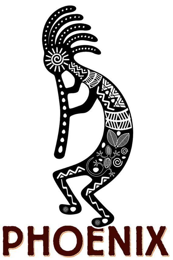 Phoenix Arizona Kokopelli Black And White Tribal Inspired Theme Art Prints Wood Metal Sig Sign Art Art Ink Stock Art