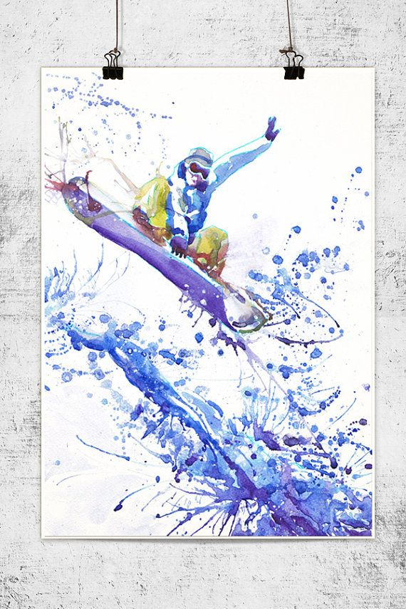 Snowboarder  watercolor painting  winter sport wall by ValrArt