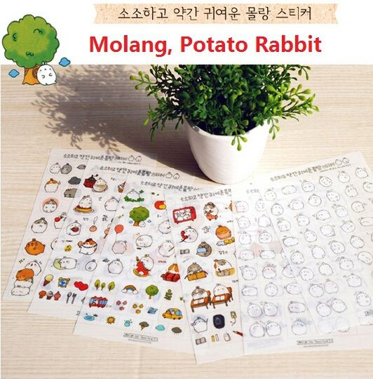 6pcs/lot   New Korea Molang  Decorative Stickers Creative Cartoon Potato Rabbit PVC sticker set / deco label / children stickers