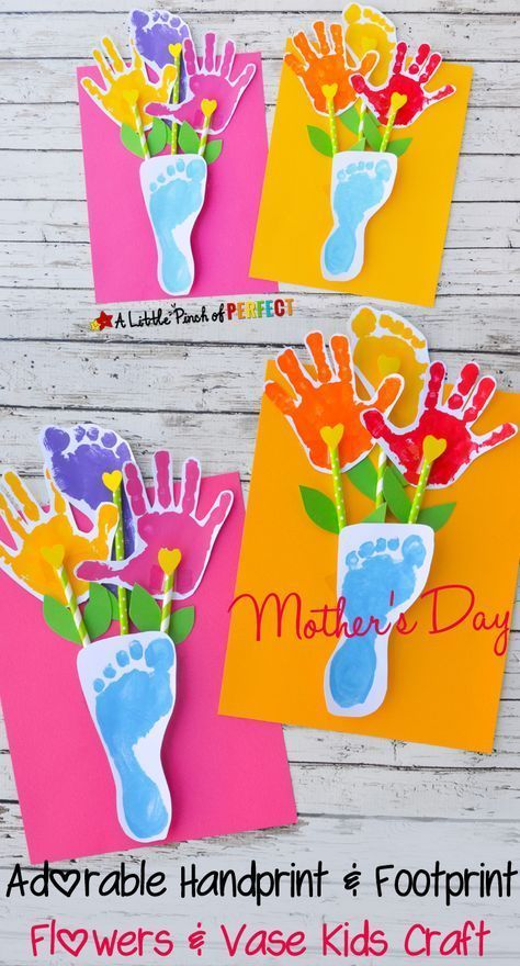 Handprint and Footprint Flowers and Vase Craft: an adorable gift for kids to make and give on Mother's Day (don't forget grandma too :)