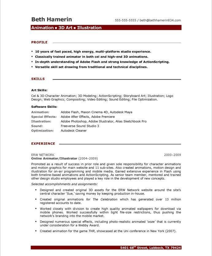cv template 3d artist  resume format  free resume