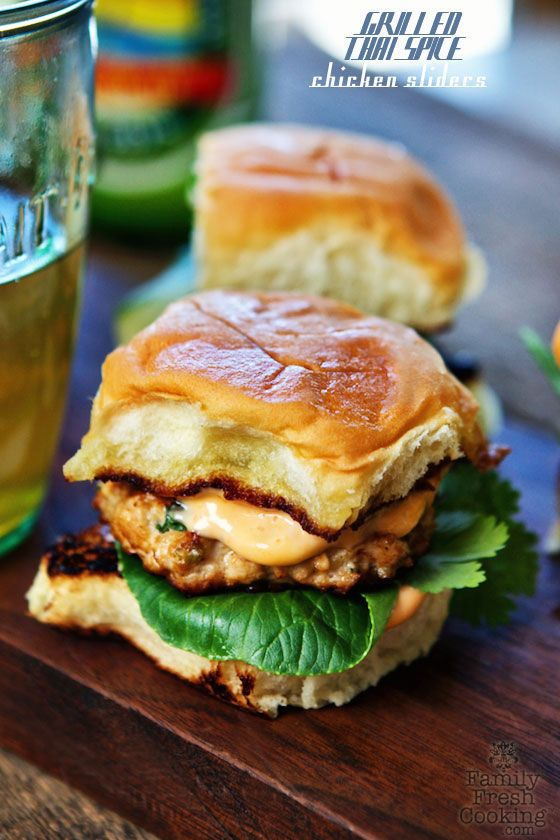 Grilled Thai Spice Chicken Sliders with Sriracha Mayo | FamilyFreshCooking.com #recipe
