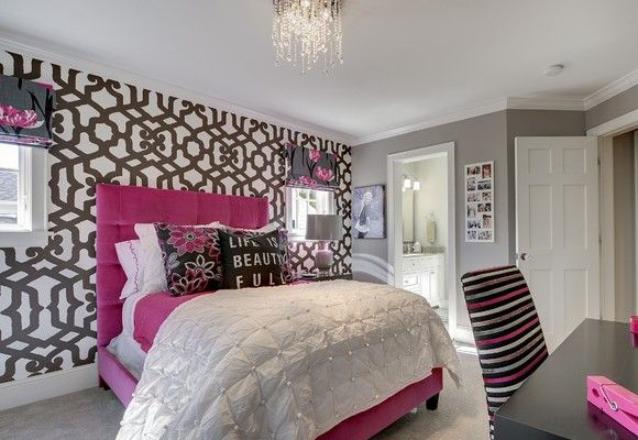 Teen girl bedroom decorating ideas use wallpaper on only for Bedroom wall designs for women