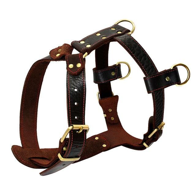 Genuine Leather Dog Harness Brown Walking Training Harnesses 23