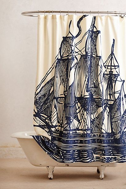 amazing sailboat shower curtain from anthropologie... thinking two of these cotton beauties might become window curtains in my son's room...