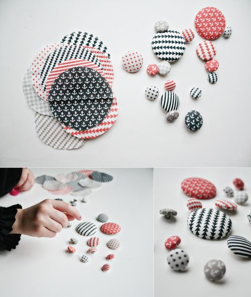 Fabric covered button tutorial + projects by Rae Friis at Armommy