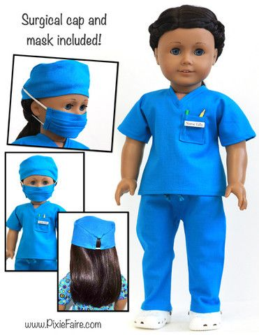 PDF pattern to make scrubs for dolls, so her dolly can have a scrub outfit like her nurse Auntie Emily