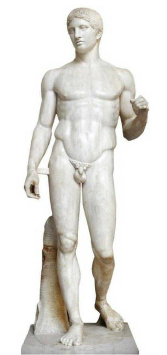 Doriforo di Policleto (Copia romana del I sec. a.C ritrovata a Pompei) - 450 a.C. - Periodo classico - Marmo a tutto tondo - Napoli, Museo Archeologico