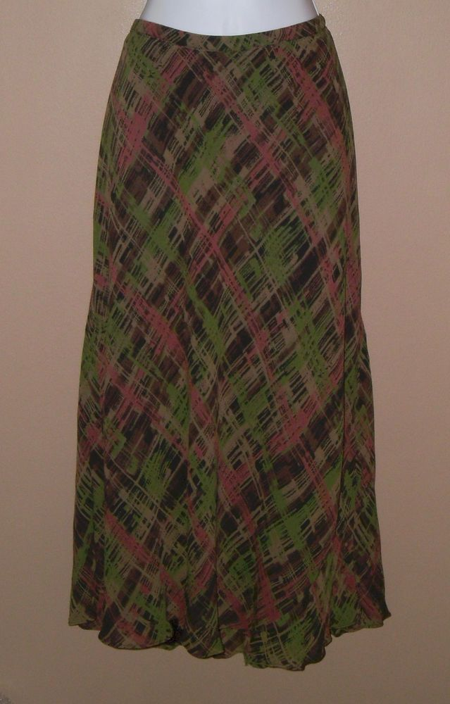 Womens Large Size 14 Brown Black Green Mauve Plaid Skirt  #JMCollection #ALine