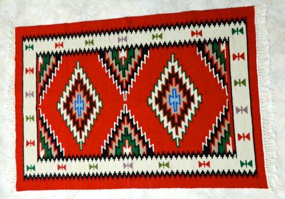Handmade diamond kilim Small Kilim Rug Qilim di KilimAndJewelry