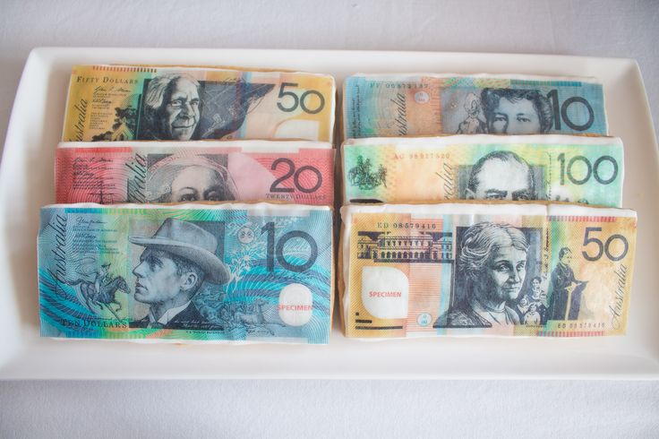 Australia Day Money Biscuits- Shortbread with thin layer of white fondant and edible rice paper images