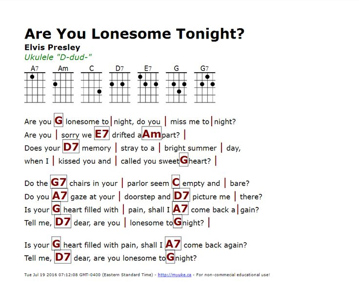 Are You Lonesome Tonight? (Elvis Presley) - http://myuke.ca