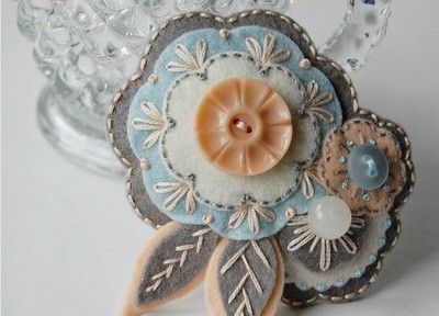 so beautiful - felt, embroidery and buttons