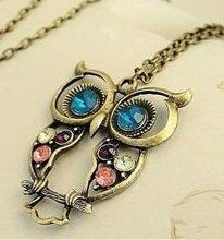 Vintage, Retro Colorful Crystal Owl Pendant and Chain with Antiqued Bronze/Brass Finish:
