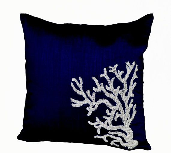 Decorative pillow with white coral on navy blue silk in beads -Oceanic pillows -Navy Blue pillows -Embroidered Pillow- 16X16-Couch pillows