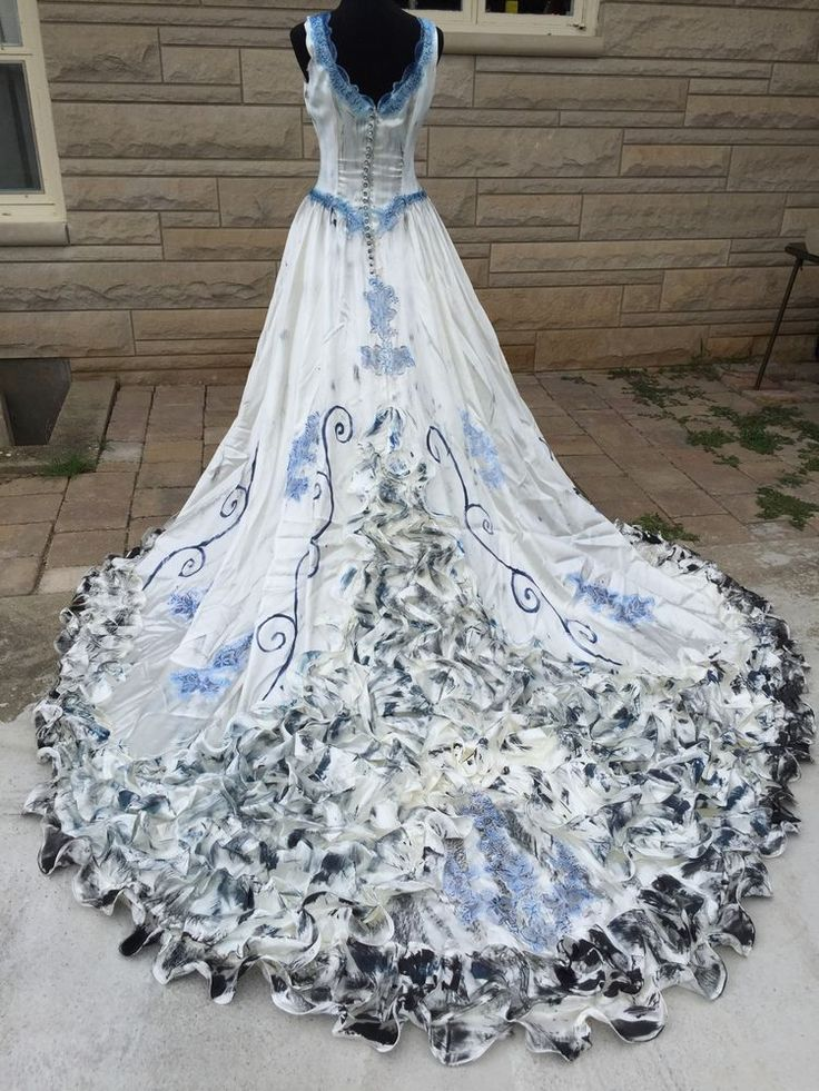 Corpse Bride Emily Halloween Costume Wedding Dress Veil OOAK Cosplay Sz 14 #Dress #Halloween