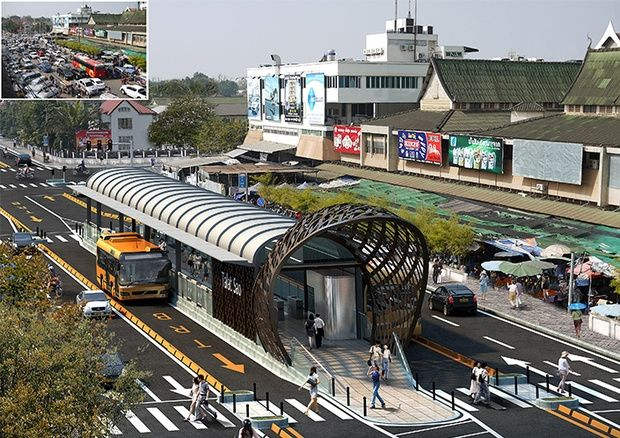 Rendering of a central Bus Rapid Transit station planned for Vientiane, Laos. Click image for full story and visit the slowottawa.ca boards >> https://www.pinterest.com/slowottawa/