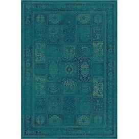 "Add a pop of pattern to your living room or den with this loomed art silk rug, showcasing an antiqued tile motif in turquoise.    Product: RugConstruction Material: Art silkColor: Turquoise and multiFeatures:  Made in BelgiumPower-loomed    Pile Height: 0.25"" Note: Please be aware that actual colors may vary from those shown on your screen. Accent rugs may also not show the entire pattern that the corresponding area rugs have.  Cleaning and Care: Professional cleaning recommended"