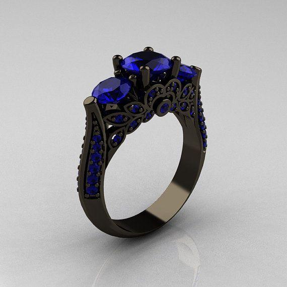 Clásico 14K oro negro tres piedra azul zafiro por artmasters