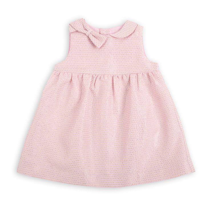 Vestido EPK de Jacquard para bebé niña, en color rosado y detalles dorados.