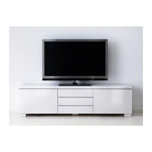 BESTÅ BURS TV bench, high-gloss white high-gloss white 180x41 cm