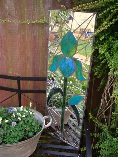 Iris Mosaic garden mirror - I love the mirror out in the garden