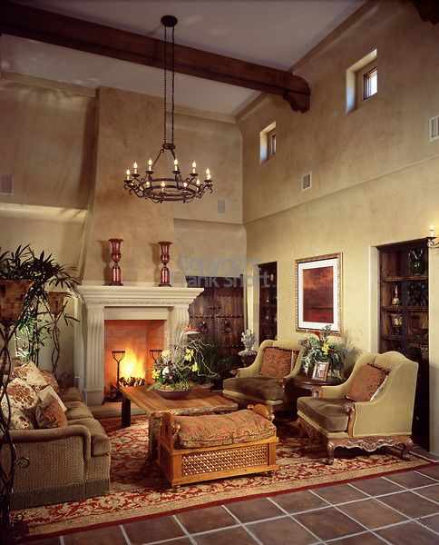 Tuscan Style Living Room With Clerestory Windows And An