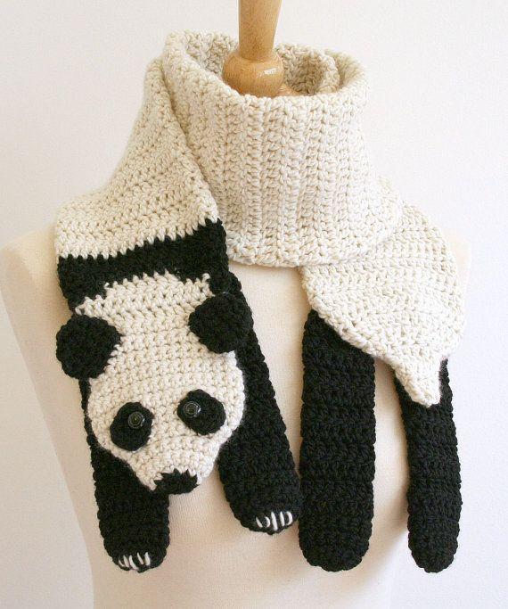 Receitas de Trico e Croche: Cachecol em crochê Panda