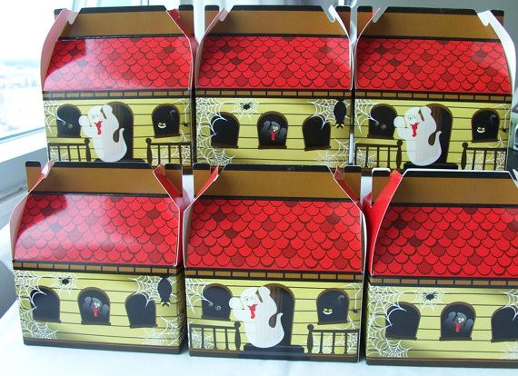 Kids will love the the little haunted houses treat boxes!