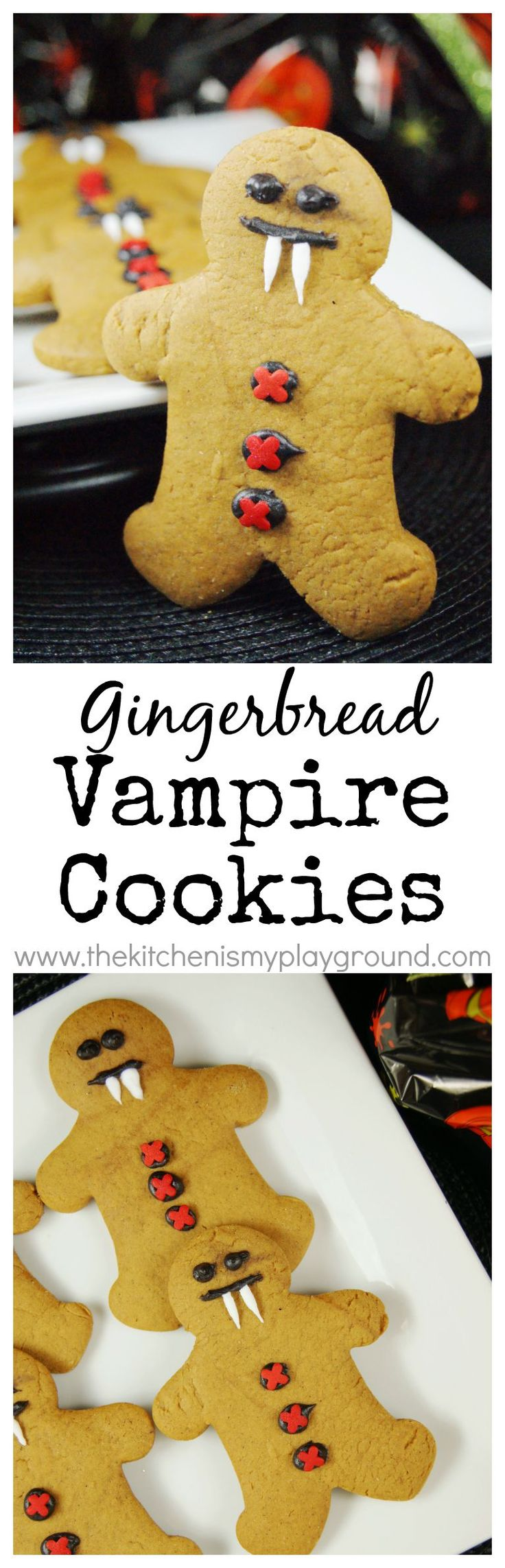 Gingerbread Vampire Cookies ~ these adorable gingerbread men have on their vampire costumes for Halloween! www.thekitchenismyplayground.com