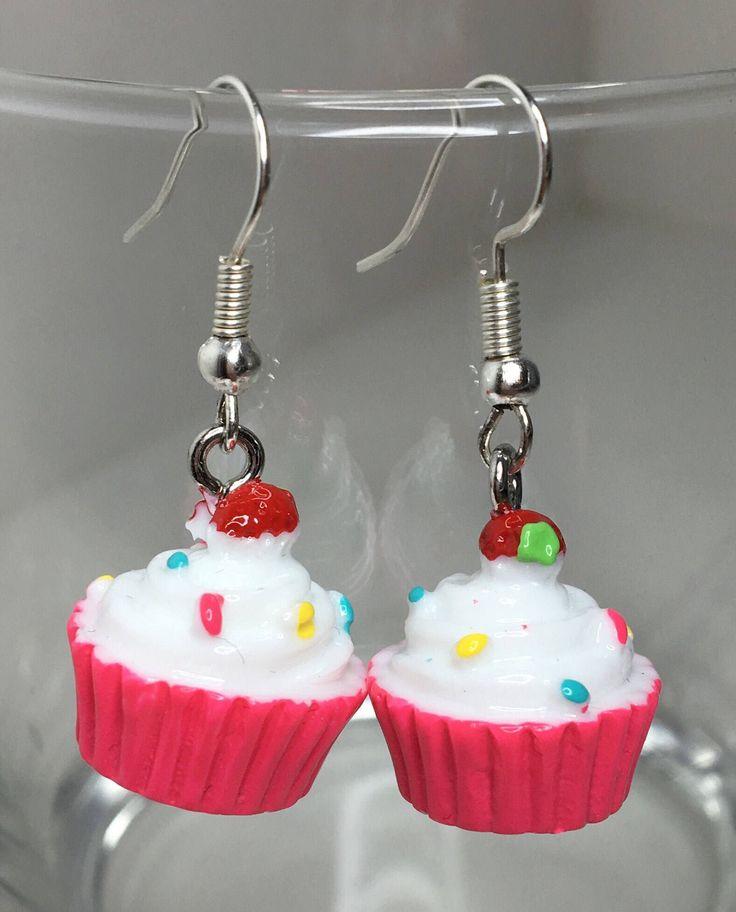 Pink Cupcake, Kawaii Earrings, Miniature Food, Handmade, Cupcake Charms, Food Earrings, Gift Ideas, Food Lover, Sweet Tooth, Desert, Resin, by MissFitBoutiqueCA on Etsy https://www.etsy.com/ca/listing/553511168/pink-cupcake-kawaii-earrings-miniature