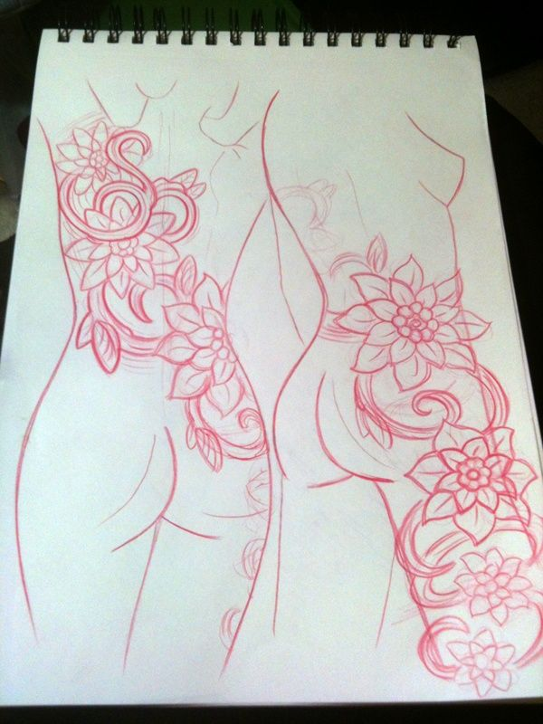 thigh tattoos | Shoulder To Thigh Flowers and Vines Tattoo Concept Sketch John ...