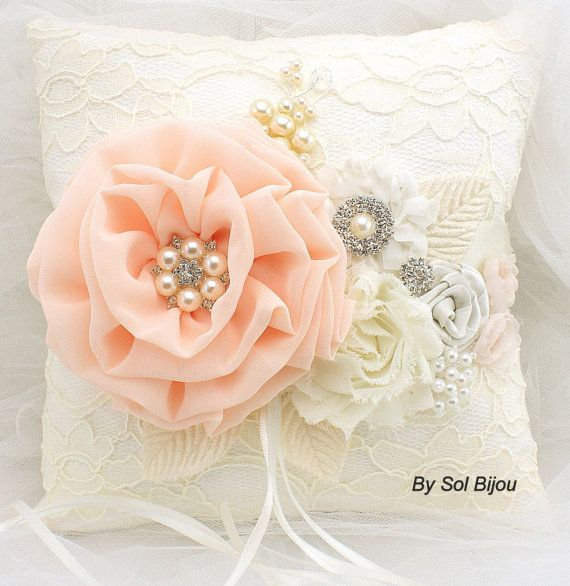 Personalized Ring Bearer Pillow Bridal Pillow in Ivory by SolBijou