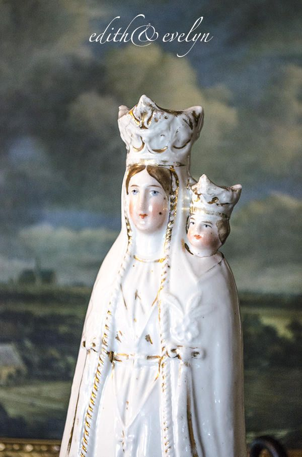 Antique FRENCH Madonna Statue, Old Paris Porcelain, Virgin Mary and Christ Child, From France by edithandevelyn on Etsy
