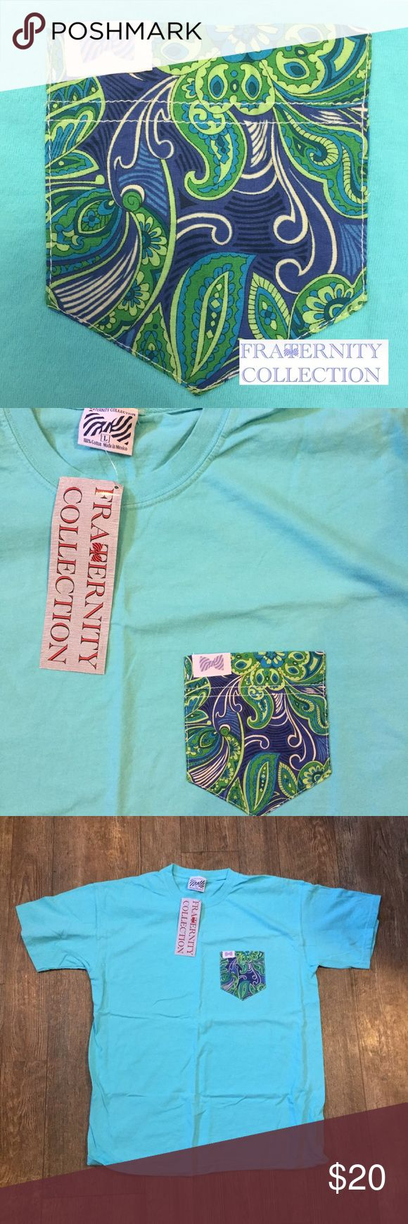 "Fraternity Collection Pocket T shirt Drue Fraternity Collection. Size Large. This is the ""Drue"" style pocket on a marlin-blue t shirt. Perfect to throw on over a bathing suit for the beach, pair with Nike shorts, yoga pants or even skinny jeans for a cute effortless preppy look! * put in Lilly for viewing, there's no fraternity Collection category* Lilly Pulitzer Tops Tees - Short Sleeve"