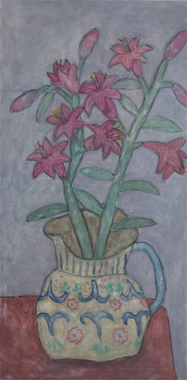 """Soojung Cho, lilies in pitcher, acrylic on canvas, 40""""x20"""""""