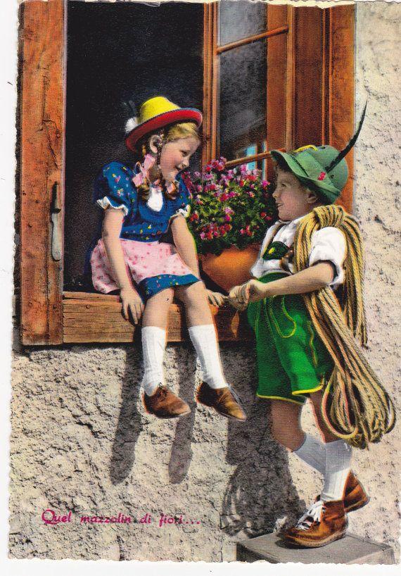 true vintage Postkarte Kinder Bergsteiger Tracht von wuenschdirwas