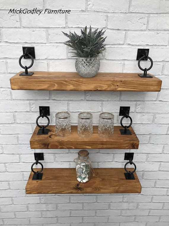 Rustic Industrial Handmade Floating Shelves Shelf Solid Wood
