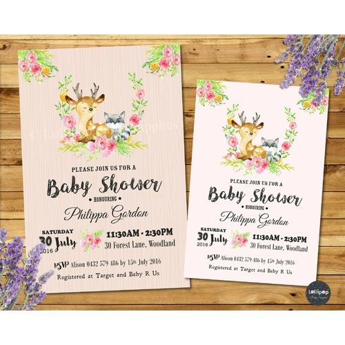 Digital - Forest Animals Baby Shower Personalised Invitation - Print Yourself - Digital File - SHIP WORLDWIDE