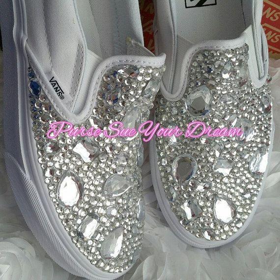 Swaorvksi Crystal Designed Wedding Vans by PurseSueYourDream  swarovski crystals, swarovski shoes, wedding shoes, wedding vans authentic, custom shoes, custom vans, rhinestone Vans, bridal vans, swarovski crystal Vans, bridal Vans Authentic, Bridal shoes, custom wedding shoes, bling shoes