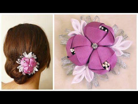 DIY ribbon flower I Kanzashi flower tutorial - YouTube